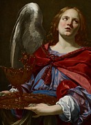 Red Robe Paintings - Angel with Attributes of the Passion by Simon Vouet