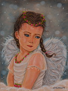 Religious Pastels Framed Prints - Angel With Braids Framed Print by Cheryl McNulty