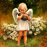 Held Paintings - Angel with Cat by Laurie Hein