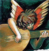 Christmas Greeting Prints - Angel With Guitar Print by Genevieve Esson