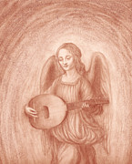 Angel Playing Lute Drawings Drawings Posters - Angel with Lute after Leonardo Poster by Kimberlee Cline-Dallaire