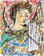 Christianity Drawings - Angel with Pipes - Final by Rachel Scott