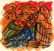 Religious Drawings Originals - Angel with Pipes - Orange by Rachel Scott