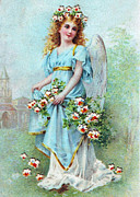 Cards Vintage Digital Art Prints - Angel with Roses Print by Munir Alawi