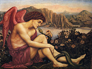 Evelyn De Prints - Angel With The Serpent Print by Evelyn de Morgan