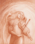 Angel Playing Lute Drawings Drawings Posters - Angel with Viola Poster by Kimberlee Cline-Dallaire