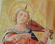 Violins Paintings - Angel with Violin after Fra Angelico by Sheila Diemert