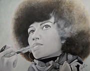 African-american Paintings - Angela Davis by Chelle Brantley