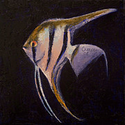 Fish Print Prints - Angelfish Print by Michael Creese