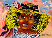 Sun Hat Mixed Media Posters - Angelina Poster by Everett Spruill