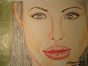 All Star Drawings Framed Prints - Angelina Jolie Framed Print by Fladelita Messerli-
