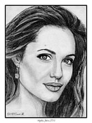 Closeups Drawings Posters - Angelina Jolie in 2005 Poster by J McCombie