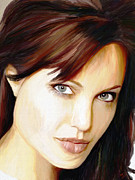Portraits Art - Angelina Jolie by James Shepherd