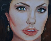 Superstar Painting Posters - Angelina Jolie Poster by Shirl Theis