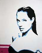 Female Art Mixed Media Print Mixed Media Posters - Angelina Jolie Poster by Venus