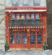 Store Fronts Painting Metal Prints - Angelos on 57th Street Metal Print by Rhonda Leonard