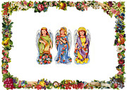 Cards Vintage Prints - Angels and Roses Print by Munir Alawi