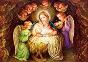 Baby Jesus Photo Prints - Angels Around Jesus Print by Munir Alawi