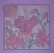 Sadness Pastels Posters - Angels at Play in Tiger Lilies Poster by Lyn Blore Dufty