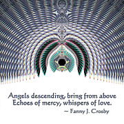 Gold Angel Card Posters - Angels Descending Poster by Renee Trenholm