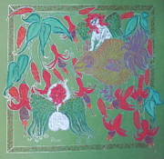 Jesus Pastels Prints - Angels Fuchsias and the Golden Bird  Print by Lyn Blore Dufty
