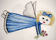 Sympathy Drawings Metal Prints - Angels Have Angels Metal Print by Jan Muse