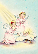 Christmas Cards Digital Art - Angels in Pink by Munir Alawi