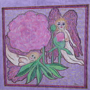 Jesus Pastels Prints - Angels in The Peony Roses  Print by Lyn Blore Dufty