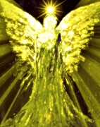 Divine Spark Prints - Angels of the Golden Light Anscension II Print by Alma Yamazaki
