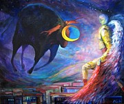 Night Angel Paintings - Angels Of Zodiac Taurus The Bull by Elisheva Nesis