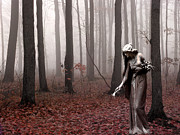 Surreal Nature Photos Posters - Angels Surreal Fantasy Female Figure In Woodlands Nature Haunting Landscape  Poster by Kathy Fornal