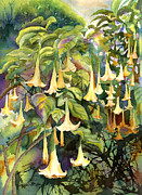 Datura Painting Prints - Angels Trumpet Print by Kathleen McGee
