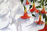 Datura Painting Prints - Angels Trumpet Print by Kyong Burke