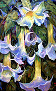 Country Cottage Mixed Media Prints - Angels Trumpets - Floral Art By Betty Cummings Print by Betty Cummings