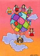 Sunset Greeting Cards Drawings Posters - Angels With Hot Air Balloon Poster by Sarah Batalka