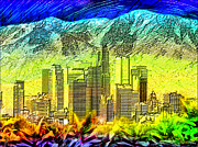 Los Angeles Skyline Digital Art - Angeltown by Daniel Janda
