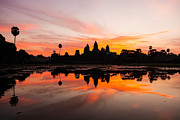 Siem Reap Photo Posters - Angkor Wat at Sunrise Cambodia Poster by Fototrav Print