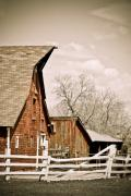 Fences Prints - Angle Top Barn Print by Marilyn Hunt