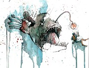 Predator Art Mixed Media Prints - Angler  Print by Michael  Pattison