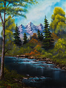 Mountain Pine Tree Painting Framed Prints - Anglers Haven Framed Print by C Steele