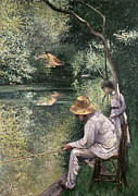 River Banks Framed Prints - Angling Framed Print by Gustave Caillebotte