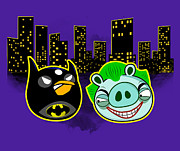 Cartoon Digital Art Posters - Angry Batbird - Angry Birds and Batman Parody Poster by Olga Shvartsur