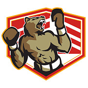 Boxer Digital Art Metal Prints - Angry Bear Boxer Boxing Retro Metal Print by Aloysius Patrimonio