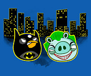 Funny Digital Art Metal Prints - Angry Bird as Batman Pig Joker Metal Print by Olga Shvartsur