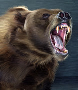 Kodiak Digital Art Prints - Angry Brown Bear Print by Aleksey Tugolukov