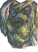 Animal Portraits Pastels Prints - Angry Grin Print by John Molina