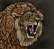 Lion Poster Prints - Angry Lion Print by Karen Sheltrown