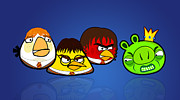 Parody Prints - Angry Potter Birds - Harry Potter Angry Birds Print by Olga Shvartsur