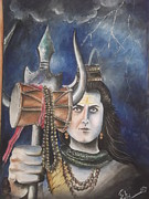Religious Drawings Originals - angry Shiva by Shalini Dubey
