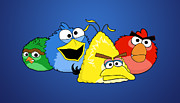 Funny Mixed Media Metal Prints - Angry Street - Angry Birds vs. Sesame Street Metal Print by Olga Shvartsur